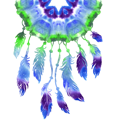 american indian aztec: Watercolor hand drawn Dreamcatcher with bird feathers. Ethnic style Stock Photo