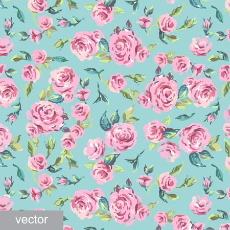 provence: Ornamental pattern of leaves and roses. Background. Provence. Vintage. Textile. Vector illustration. Illustration