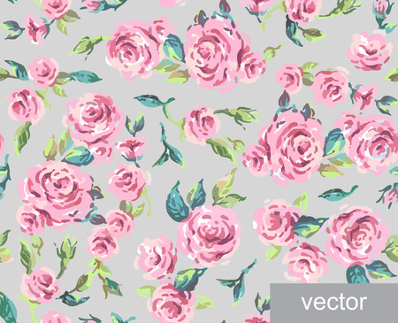 provence: Seamless ornamental pattern of leaves and roses. Background. Provence. Vintage. Textile. Vector illustration. Illustration