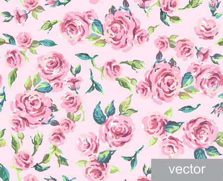 polygraphy: Seamless ornamental pattern of leaves and roses. Background. Provence. Vintage. Textile. Vector illustration. Illustration