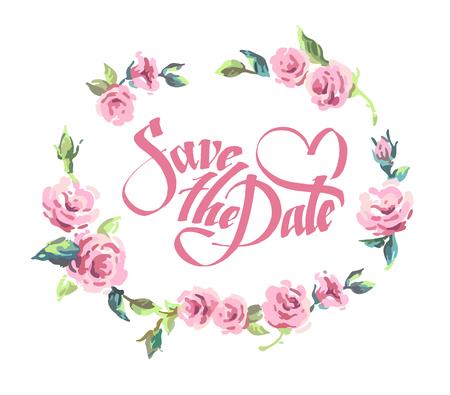 provence: Vintage frame. Provence. Vector set of invitation cards with illustration of flowers, roses, leaf. Wedding collection. Design invitation templates. Vector illustration Illustration