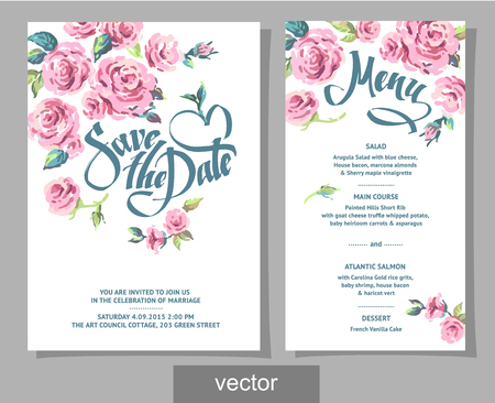 Vector set of invitation cards with illustration of flowers, roses, leaf. Wedding collection. Design invitation templates. Vector illustration