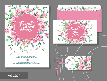 polygraphy: Vector set of invitation cards with illustration of flowers, roses, leaf. Wedding collection. Design invitation templates. Vector illustration