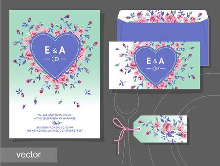 illustration invitation: Vector set of invitation cards with illustration of flowers, roses, leaf. Wedding collection. Design invitation templates. Vector illustration
