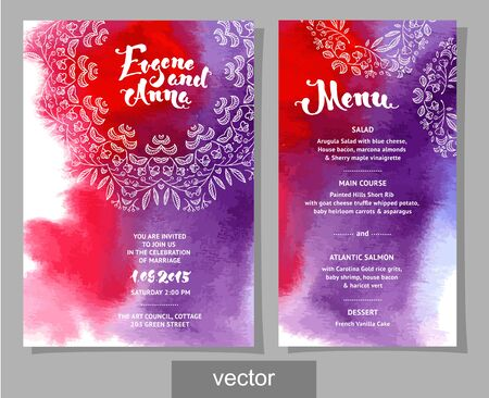 invitation cards: Vector set of invitation cards with watercolor elements, hearts.Watercolor wedding collection. Design invitation templates. Save the date calligraphy. Vector illustration