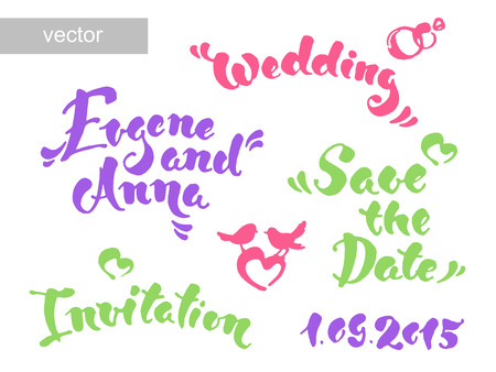 illustration invitation: Save the date calligraphy. Vector set for invitation cards. Wedding collection. Design invitation templates. Vector illustration