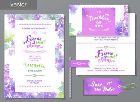illustration invitation: Vector set of invitation cards with watercolor elements, hearts.Watercolor wedding collection. Design invitation templates. Save the date calligraphy. Vector illustration