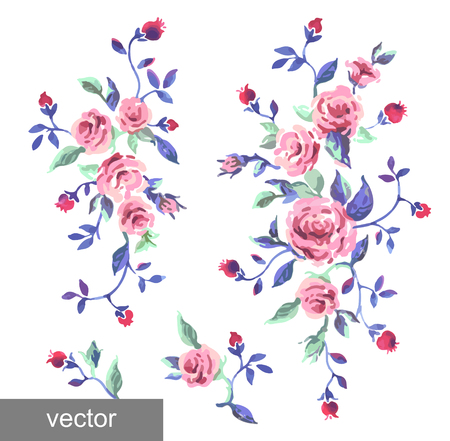 provence: Ornamental pattern of leaves and roses. Background. Provence. Vintage. Textile. Vector illustration. Illustration