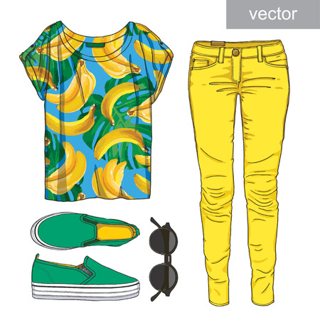 girl wearing glasses: Lady fashion set of summer outfit. Illustration stylish and trendy vector clothing.