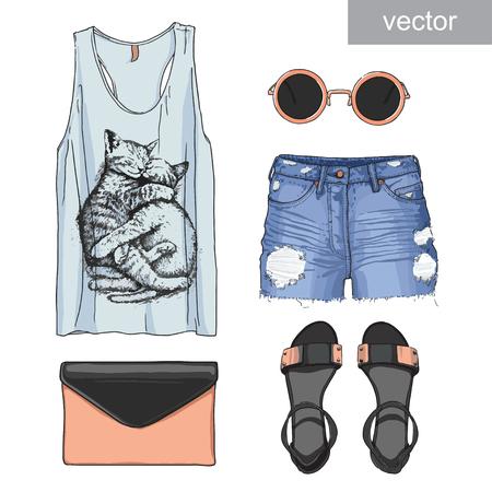 Lady fashion set of summer outfit. Illustration stylish and trendy clothing.