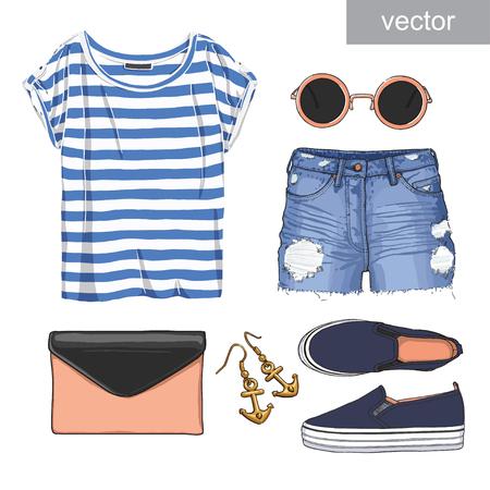 mezclilla: Señora de moda conjunto de traje de verano. Ilustración ropa con estilo y de moda.