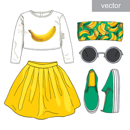 skirt: Lady fashion set of summer outfit. Illustration stylish and trendy clothing.