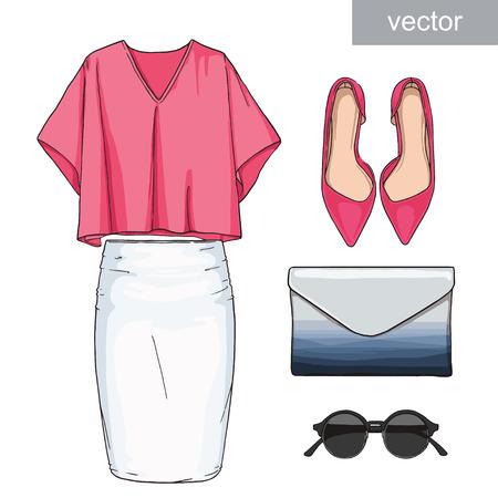 woman white shirt: Lady fashion set of summer outfit. Illustration stylish and trendy clothing. Skirt, blouse, handbag, sunglasses, high heel shoes. Illustration
