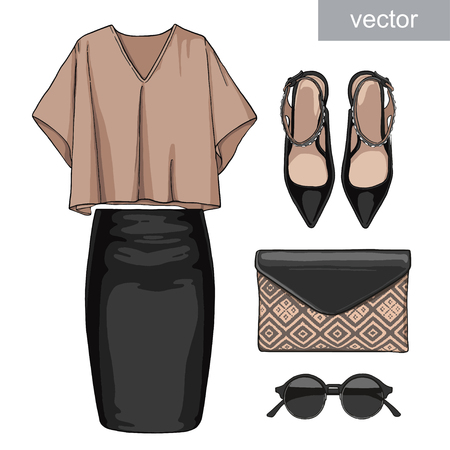 Lady fashion set of summer outfit. Illustration stylish and trendy clothing. Skirt, blouse, handbag, sunglasses, high heel shoes. Illustration