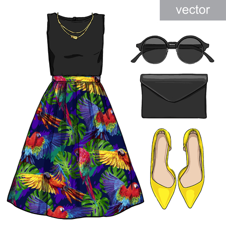Lady fashion set of summer outfit. Illustration stylish and trendy clothing. Skirt, blouse, clutch, bag, sunglasses, high heel shoes. Vector Illustration