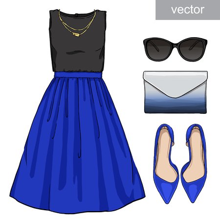fashion set: Lady fashion set of summer outfit. Illustration stylish and trendy clothing. Skirt, blouse, clutch, bag, sunglasses, high heel shoes. Vector Illustration