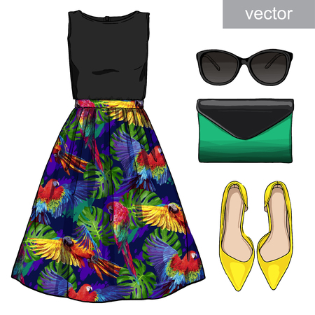 clutch bag: Lady fashion set of summer outfit. Illustration stylish and trendy clothing. Skirt, blouse, clutch, bag, sunglasses, high heel shoes. Vector Illustration