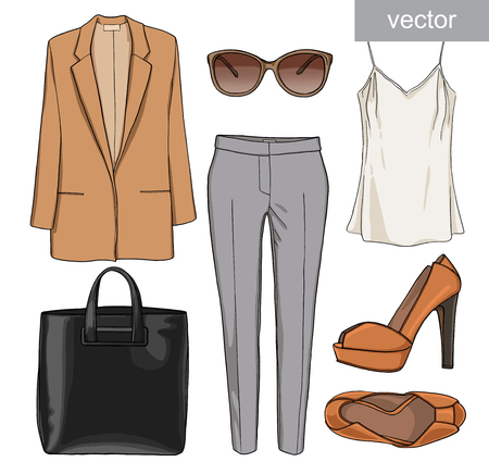 Lady fashion set of summer outfit. Illustration stylish and trendy clothing. Jacket, pants, blouse, bag, sunglasses, high heel shoes. Vector. Stock Illustratie