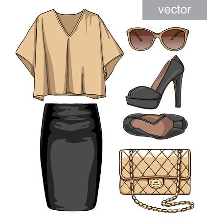 skirt: Lady fashion set of summer outfit. Illustration stylish and trendy clothing. Skirt, blouse, handbag, sunglasses, high heel shoes. Illustration