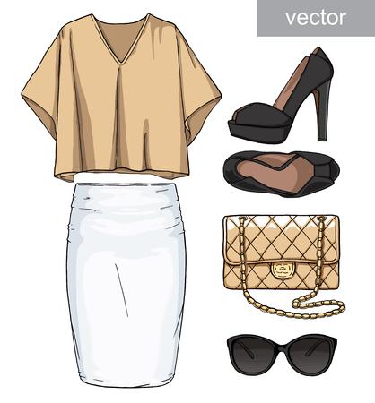 falda: Dama de la moda conjunto de traje de verano. Ilustración estilo y de moda de ropa. zapatos de la falda, blusa, bolso, gafas de sol, de tacón alto.