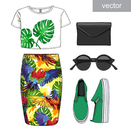 clutch: Lady fashion set of summer outfit. Illustration stylish and trendy clothing. Jumpsuit, shorts, jacket, clutch, bag, sandals. Vector. Illustration