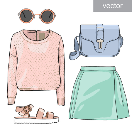 skirt: Lady fashion set of summer outfit. Illustration stylish and trendy clothing. Skirt, blouse, sweatshirt, bag, sunglasses, sandals. Vector.