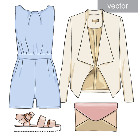 jumpsuit: Lady fashion set of summer outfit. Illustration stylish and trendy clothing. Jumpsuit, shorts, jacket, clutch, bag, sandals. Vector. Illustration
