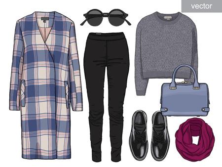 black pants: Lady fashion set of autumn season outfit. Illustration stylish and trendy clothing. Coat, pants, blouse, bag, sunglasses, shirt, shoes.