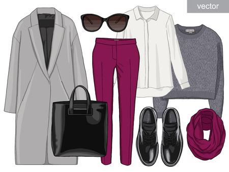 Lady fashion set of autumn season outfit. Illustration stylish and trendy clothing. Coat, pants, blouse, bag, sunglasses, shirt, shoes. Banco de Imagens - 48258667