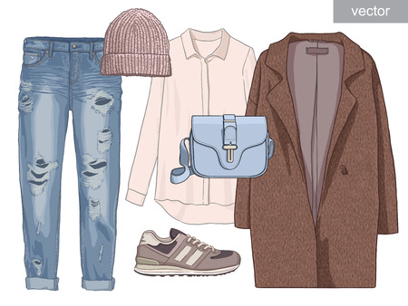 sneakers: Lady fashion set of autumn season outfit. Illustration stylish and trendy clothing. Coat, pants, blouse, bag, sunglasses, shirt, shoes.