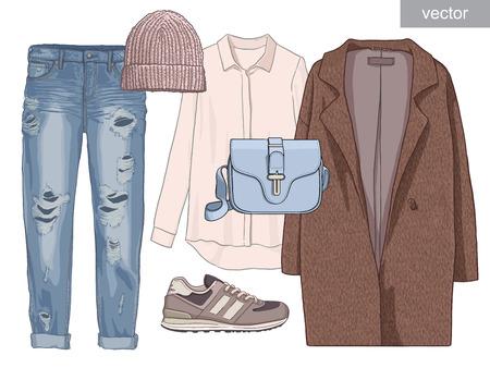 Lady fashion set of autumn season outfit. Illustration stylish and trendy clothing. Coat, pants, blouse, bag, sunglasses, shirt, shoes.