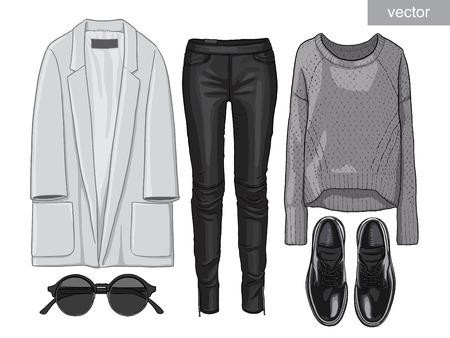 fashion shoes: Lady fashion set of autumn season outfit. Illustration stylish and trendy clothing. Coat, pants, blouse, bag, sunglasses, shirt, shoes.
