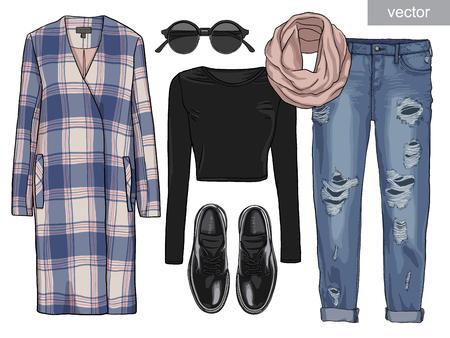 fashion set: Lady fashion set of autumn season outfit. Illustration stylish and trendy clothing. Coat, pants, blouse, bag, sunglasses, shirt, shoes.