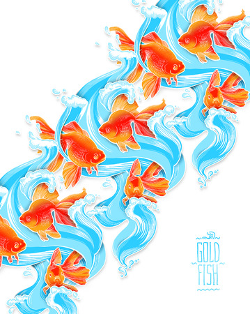 pez dorado: fauna submarina en color de peces de colores ilustraci�n ilustraciones l�nea Foto de archivo