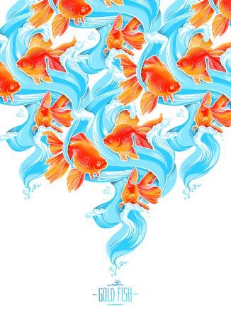 pez dorado: fauna submarina en color de peces de colores ilustración ilustraciones línea Foto de archivo