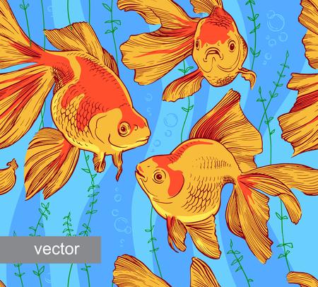aquaculture: Goldfish illustration artwork line underwater pattern seamless texture vector Illustration