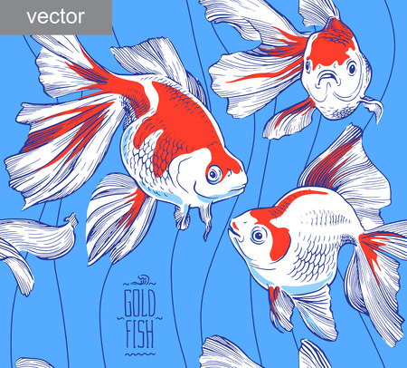 lijntekening: Goldfish illustratie kunstwerk lijn onderwater patroon naadloze textuur vector Stock Illustratie