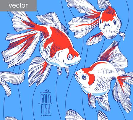 goldfish: Goldfish illustration artwork line underwater pattern seamless texture vector Illustration