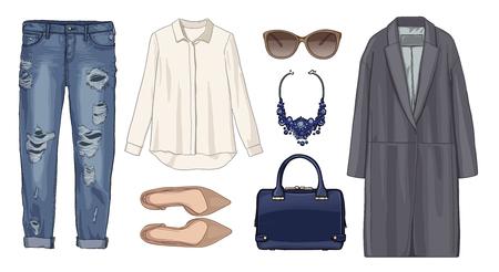 fashion set: Lady fashion set of autumn, winter season outfit. Illustration stylish and trendy clothing. Coat, pants, denim, sunglasses, necklace, scarf, shoes. Stock Photo