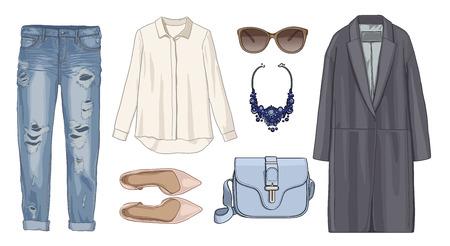 spring coat: Lady fashion set of autumn, winter season outfit. Illustration stylish and trendy clothing. Coat, pants, denim, sunglasses, necklace, scarf, shoes. Stock Photo
