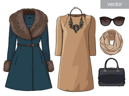 Lady fashion set of autumn, winter season outfit. Illustration stylish and trendy clothing. Coat, dress, bag, necklace, accessories, sunglasses, high heel shoes. Иллюстрация