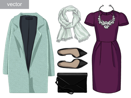 Lady fashion set of autumn, winter season outfit. Illustration stylish and trendy clothing. Coat, dress, bag, necklace, accessories, sunglasses, high heel shoes. Vectores