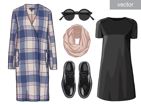 luster: Lady fashion set of autumn, winter season outfit. Illustration stylish and trendy clothing. Coat, dress, bag, necklace, accessories, sunglasses, high heel shoes. Illustration