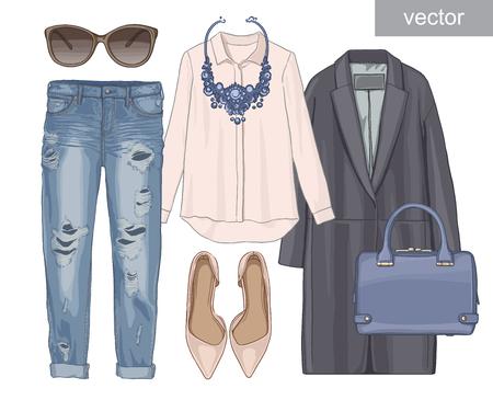 sudadera: Dama de la moda conjunto del otoño, traje de la temporada de invierno. Ilustración estilo y de moda de ropa. Abrigo, pantalones, jeans, gafas de sol, collar, bufanda, zapatos.