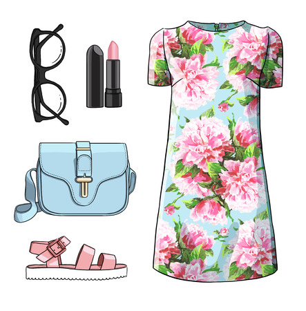 high heel shoes: Lady fashion set of spring, winter season outfit. Illustration stylish and trendy clothing. Coat, dress, bag, accessories, sunglasses, high heel shoes.
