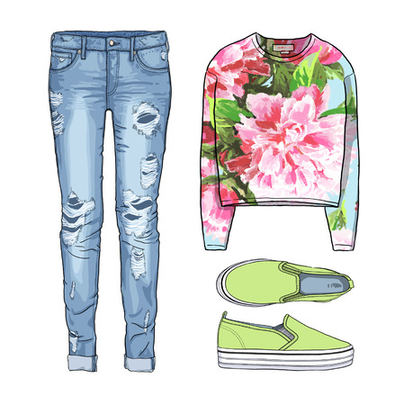 spring coat: Lady fashion set of spring, winter season outfit. Illustration stylish and trendy clothing. Coat, dress, bag, accessories, sunglasses, high heel shoes. Denim, slip-on, jeans. Stock Photo