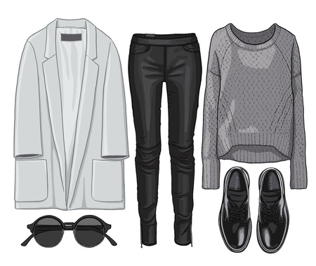 leather pants: Lady fashion set of autumn season outfit. Illustration stylish and trendy clothing. Coat, leather pants, pullover, sunglasses, shoes.
