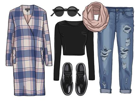 fashion shoes: Lady fashion set of autumn season outfit. Illustration stylish and trendy clothing. Coat, pants, sunglasses, scarf, shoes.