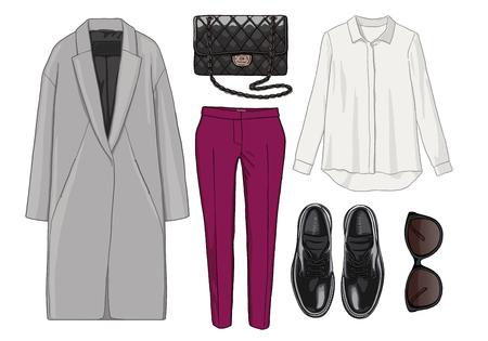136fc81fe3012 #57533291 - 女性ファッションは秋の季節の服のセットです。図スタイリッシュでトレンディな服。コート、ズボン、ブラウス、バッグ、サングラス 、シャツ、靴。