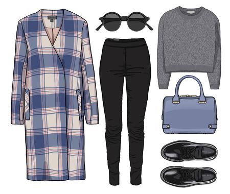 ac06413cd8b8b #57533294 - 女性ファッションは秋の季節の服のセットです。図スタイリッシュでトレンディな服。コート、ズボン、ブラウス、バッグ、サングラス 、シャツ、靴。